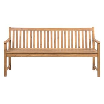 Ławka ogrodowa jasne drewno akacjowe trzyosobowa 180 cm na taras balkon klasyczny design