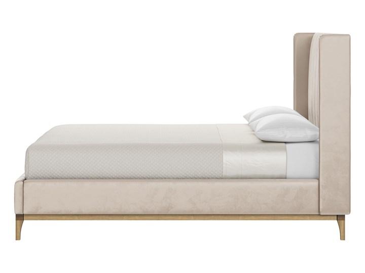 Łóżko Reese 140x200 cm z pionowymi przeszyciami i panelami bocznymi Kategoria Łóżka do sypialni Łóżko tapicerowane Kolor Beżowy