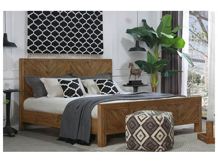Łóżko drewniane Idyllic z zagłówkiem, 180x200 Drewno Styl Skandynawski Styl Rustykalny