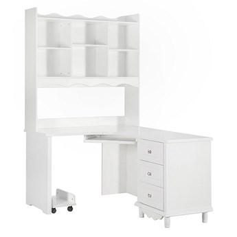 Narożne białe biurko z nadstawką Victoria813