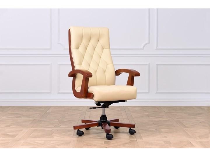 Fotel gabinetowy skórzany Consul, kremowy