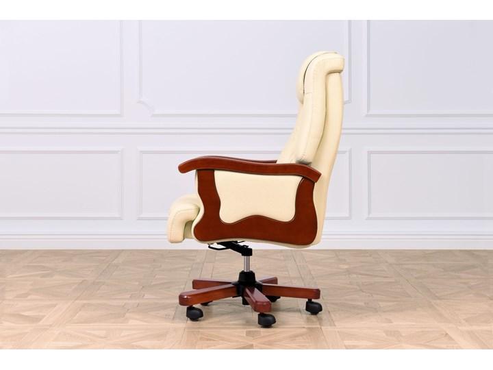 Fotel skórzany Prestige, kremowy Szerokość 75 cm Wysokość 115 cm Drewno Pomieszczenie Biuro i pracownia Głębokość 89 cm Z podłokietnikiem Tworzywo sztuczne Metal Tapicerowane Tkanina Wysokość 122 cm Skóra Kolor Beżowy