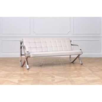 3-osobowa sofa skórzana Stilio do biura, szara