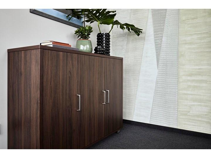 3-drzwiowa komoda Platinum A12 ciemny orzech Szerokość 120 cm Głębokość 40 cm Wysokość 80 cm Styl Nowoczesny