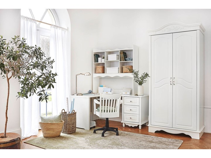 Narożne białe biurko z nadstawką Victoria813 Szerokość 150 cm Płyta MDF Biurko narożne Pomieszczenie Biuro