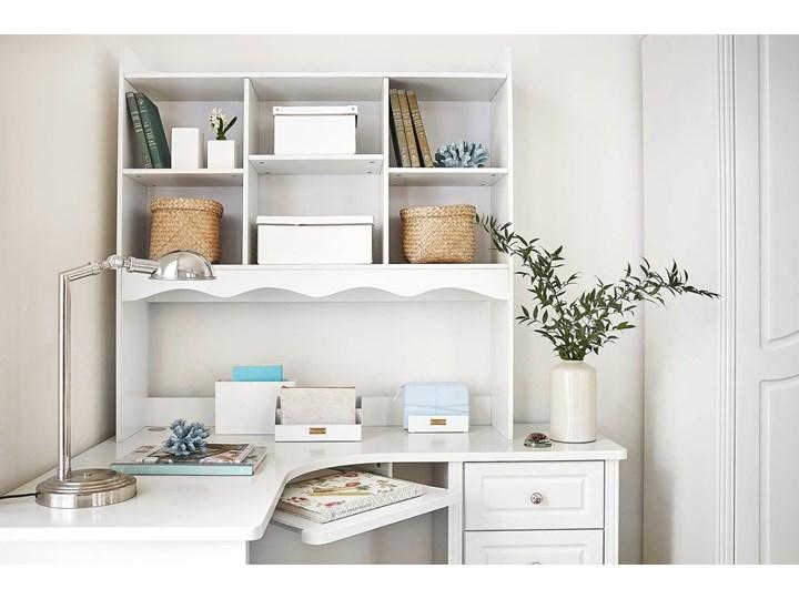 Narożne białe biurko z nadstawką Victoria813 Szerokość 150 cm Biurko narożne Płyta MDF Kolor Biały