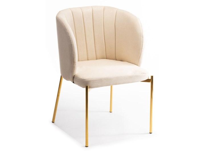 Krzesło Marselo Gold Light Beige Metal Tkanina Tworzywo sztuczne Pomieszczenie Salon