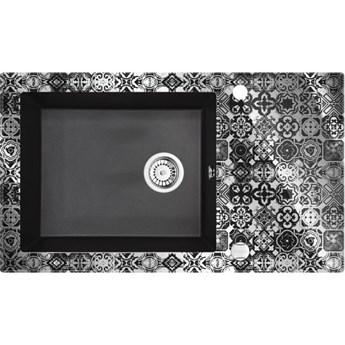 Deante Capella zlewozmywak szklano-granitowy 86x50 cm grafitowy metalik/platyna ZSC GP2C