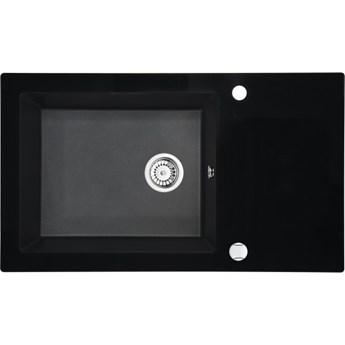 Deante Capella zlewozmywak szklano-granitowy 86x50 cm grafitowy metalik/szkło czarne ZSC GX2C