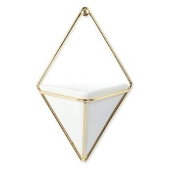 Zestaw 2 białych ceramicznych doniczek wiszących z konstrukcją w kolorze złota Umbra Trigg