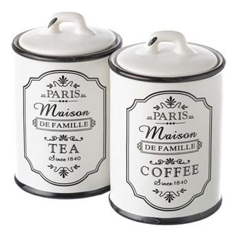 Zestaw 2 pojemników kamionkowych na kawę i herbatę Unimasa Paris