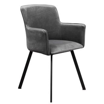 Krzesło Tapicerowane Loft Metalowe Nogi do Salonu Szary