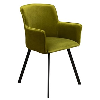 Krzesło Tapicerowane Loft Metalowe Nogi do Salonu Oliwkowy