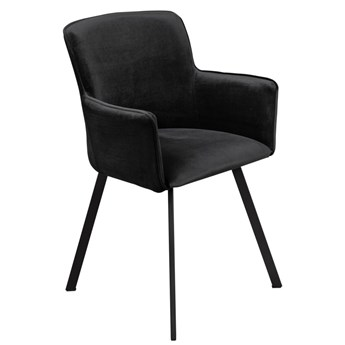 Krzesło Tapicerowane Loft Metalowe Nogi do Salonu Czarny