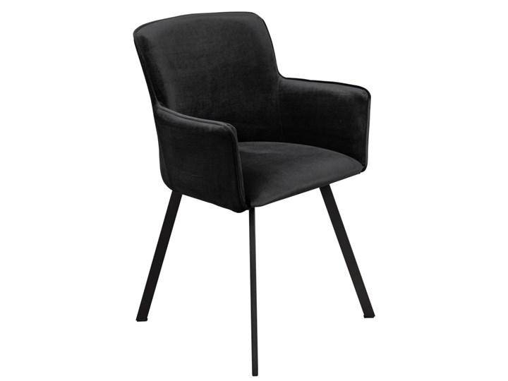Krzesło Tapicerowane Loft Metalowe Nogi do Salonu Czarny Tkanina Tworzywo sztuczne Styl Industrialny