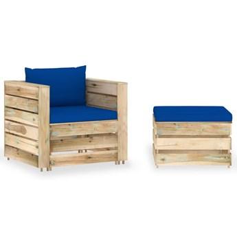 vidaXL 2-cz. zestaw wypoczynkowy do ogrodu, z poduszkami, drewniany