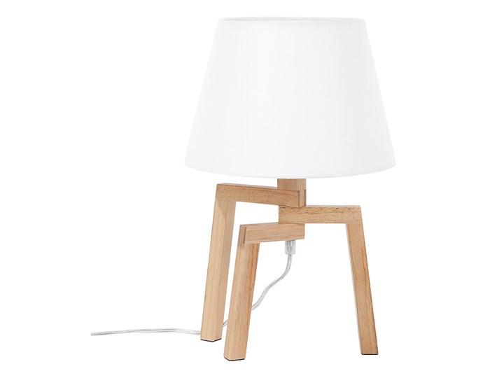 Lampa stołowa biała jasne drewno 42 cm trójnóg skandynawska Lampa nocna Lampa z abażurem Kolor Biały