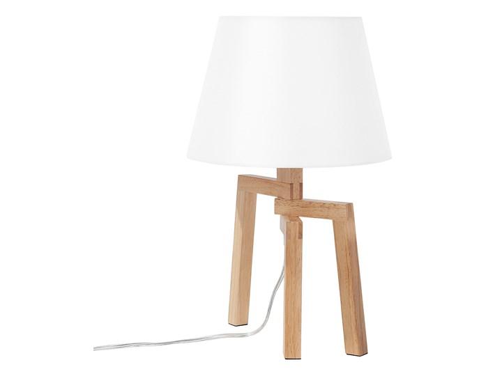 Lampa stołowa biała jasne drewno 42 cm trójnóg skandynawska Kategoria Lampy stołowe Lampa nocna Lampa z abażurem Kolor Biały