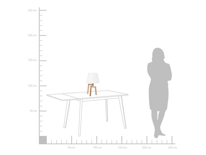 Lampa stołowa biała jasne drewno 42 cm trójnóg skandynawska Lampa nocna Styl Skandynawski Lampa z abażurem Kolor Biały