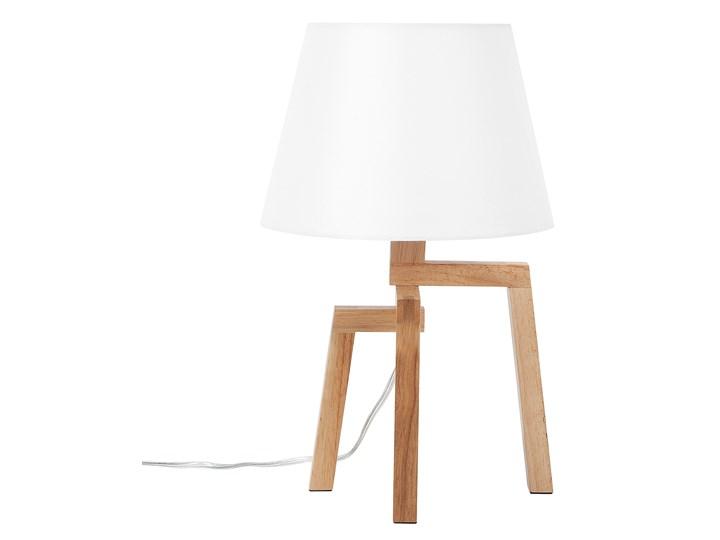 Lampa stołowa biała jasne drewno 42 cm trójnóg skandynawska Lampa nocna Lampa z abażurem Kolor Biały Kategoria Lampy stołowe