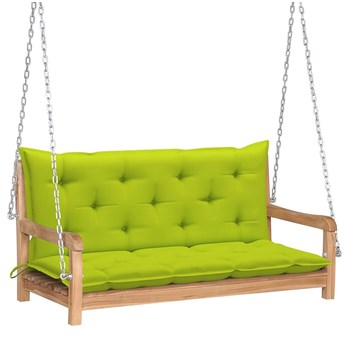 Drewniana huśtawka z jasnozieloną poduszką - Paloma 2X