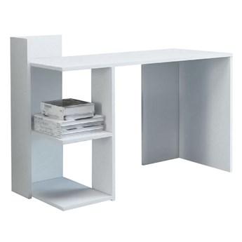 Białe minimalistyczne biurko z dwoma półkami - Betrix 2X