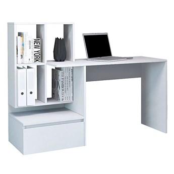 Białe biurko z półkami i szufladą - Betrix 3X