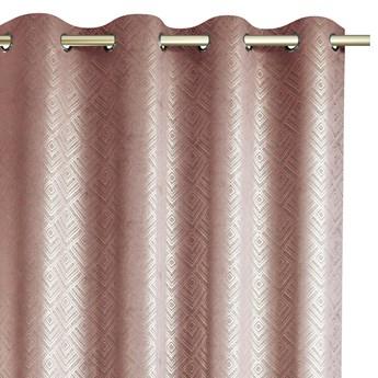 Zasłony na przelotkach BLACKOUT Velvet z metalizowanym nadrukiem Różowe Glamour Zaciemniające 140x250 cm ICONIC