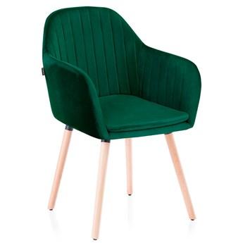 Pikowane krzesło do Gabinetu Jadalni Drewniane nóżki Butelkowa Zieleń WOODY