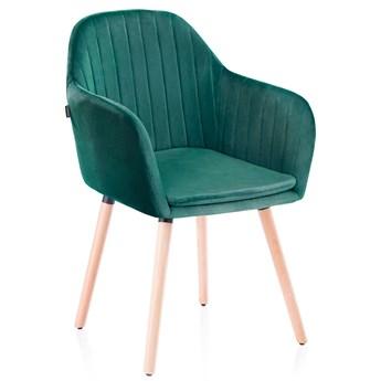 Krzesło Welurowe do Gabinetu Jadalni Drewniane nóżki Morskie WOODY
