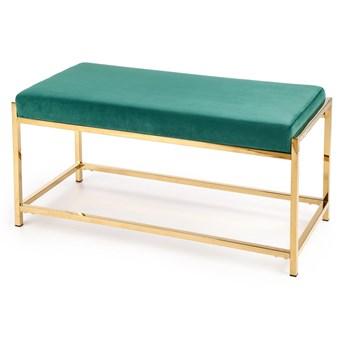 Ławka do przedpokoju siedzisko z tkaniny Zielona Złoty stelaż AURO
