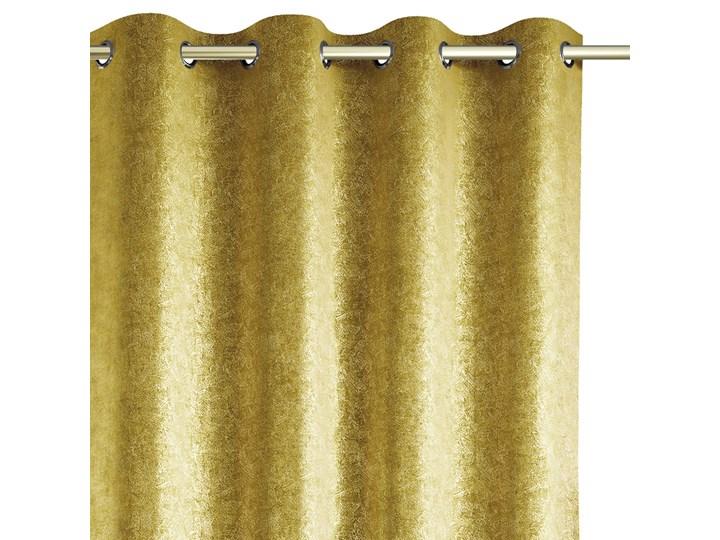 Zasłony zaciemniające na przelotkach Blackout Velvet z metalizowanym połyskiem 140x250 cm Żółte GISSA Pomieszczenie Salon Zasłona zaciemniająca Poliester Typ Zasłony gotowe