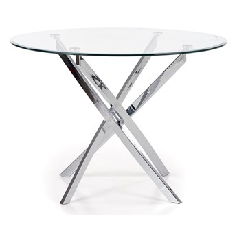 Nowoczesny stół do jadalni i salonu Okrągły szklany blat OCEL