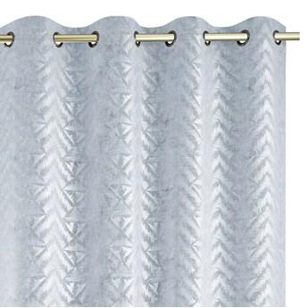 Zasłony na przelotkach BLACKOUT Velvet z metalizowanym nadrukiem Srebrne Glamour Gęsty splot 140x250 cm REVIVAL