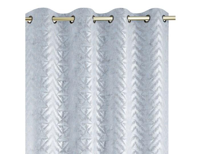 Zasłony na przelotkach BLACKOUT Velvet z metalizowanym nadrukiem Srebrne Glamour Gęsty splot 140x250 ...
