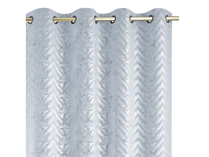 Zasłony na przelotkach BLACKOUT Velvet z metalizowanym nadrukiem Srebrne Glamour Gęsty splot 140x250 cm REVIVAL Poliester Mocowanie Kółka