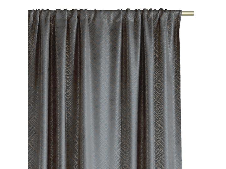Zasłony na taśmie BLACKOUT Velvet z metalizowanym nadrukiem Grafitowe Glamour Zaciemniające 140x250 cm ICONIC