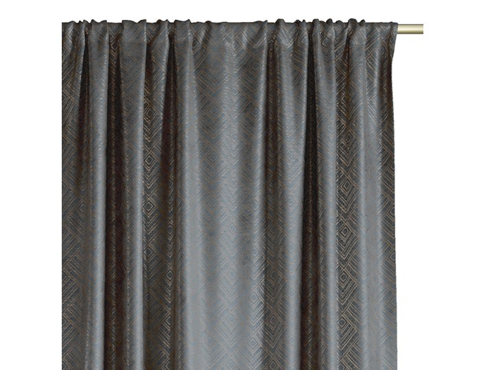 Zasłony na taśmie BLACKOUT Velvet z metalizowanym nadrukiem Grafitowe Glamour Zaciemniające 140x250 cm ICONIC Poliester Pomieszczenie Salon Zasłona zaciemniająca Mocowanie Szelki