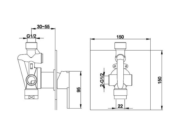 Kohlman Gixs bateria prysznicowa podtynkowa QW220G Bateria ścienna Kategoria Baterie łazienkowe