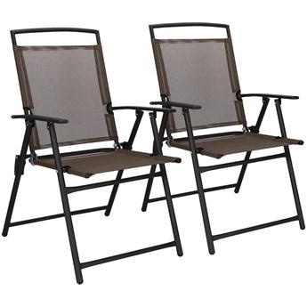 Krzesło ogrodowe 2szt. na balkon, tarasowe brązowo-czarne