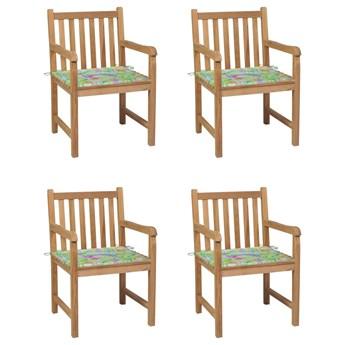 vidaXL Krzesła ogrodowe, 4 szt., z poduszkami w liście, drewno tekowe