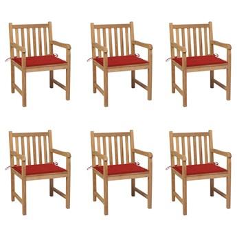 vidaXL Krzesła ogrodowe, czerwone poduszki, 6 szt., lite drewno tekowe