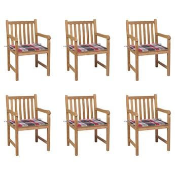 vidaXL Krzesła ogrodowe, 6 szt., z poduszkami w czerwoną kratkę, tek