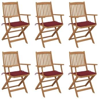 vidaXL Składane krzesła ogrodowe 6 szt., z poduszkami, drewno akacjowe