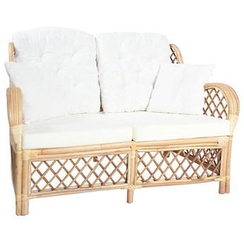 2-osobowa sofa rattanowa z lnianą tapicerką - Zumea