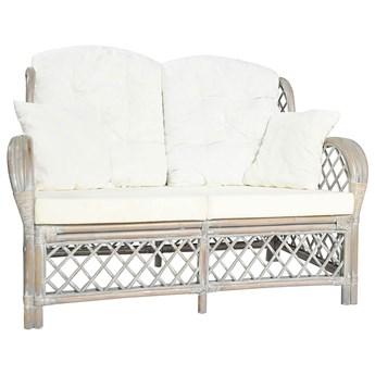 2-osobowa szara sofa rattanowa z lnianą tapicerką - Zumea