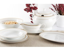 Serwis obiadowy BEATRICE na 12 osób (43 el.) -- biały złoty