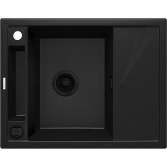 Deante Magnetic zlewozmywak granitowy magnetyczny 64x50 cm czarny mat ZRM N11A