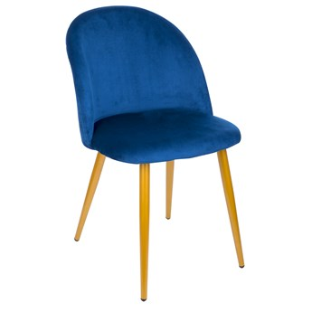 Krzesło Welurowe FOGGIE GRANATOWE Złote Nogi