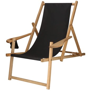 Leżak drewniany impregnowany z podłokietnikami i miejscem na napój czarny